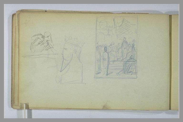 Homme, vu en buste ; buste d'homme couronné ; étude de composition