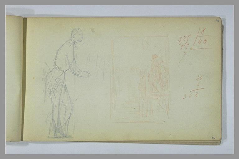 Homme, debout, de profil ; étude de composition ; calculs manuscrits