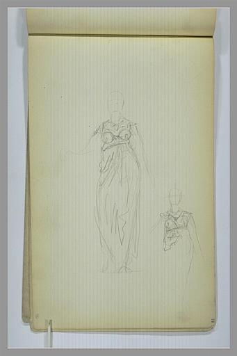 YVON Adolphe : Etude de figure féminine, vu de face, en pied, reprise du haut du corps