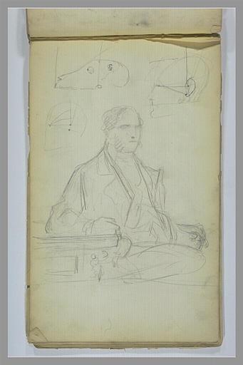 Portrait d'un homme assis ; croquis de têtes, de profil