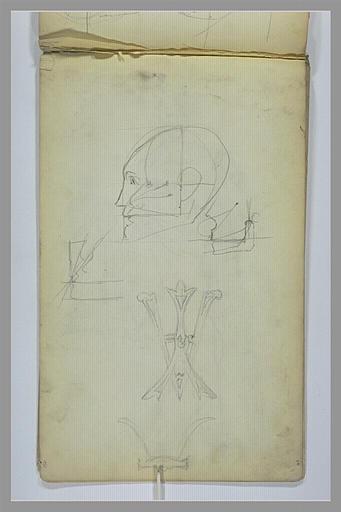 YVON Adolphe : Monogramme avec les lettres A et Y entrelacées, tête de profil