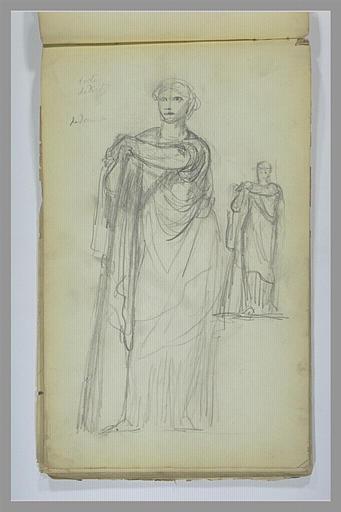 Deux études d'une femme, debout, drapée à l'antique