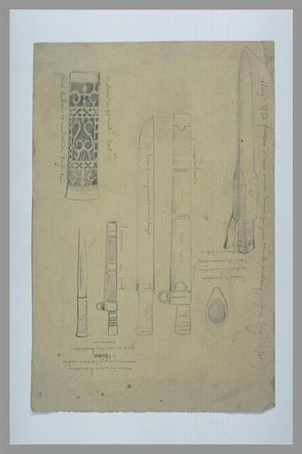 Armes blanches, fourreau, détails décoratifs de manches et notes manuscrites_0