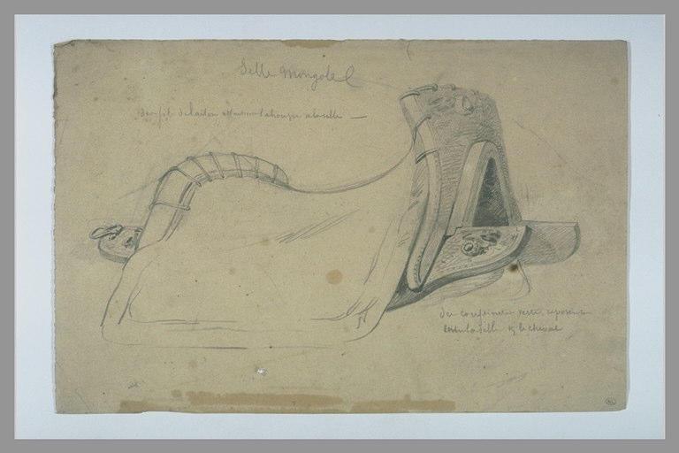 YVON Adolphe : Selle mongole et annotations manuscrites