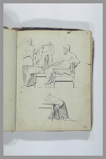 Trois figures d'après l'antique ; jambes drapées_0