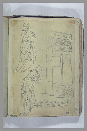 YVON Adolphe : Etude de deux figures drapées, colonnes d'un temple, petit paysage