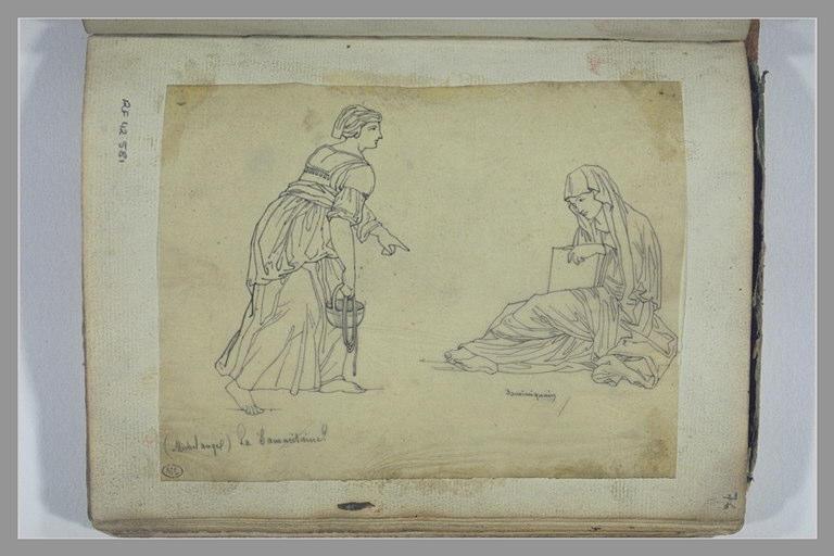 La Samaritaine, d'après Michel-Ange ; femme assise, d'après Dominiquin
