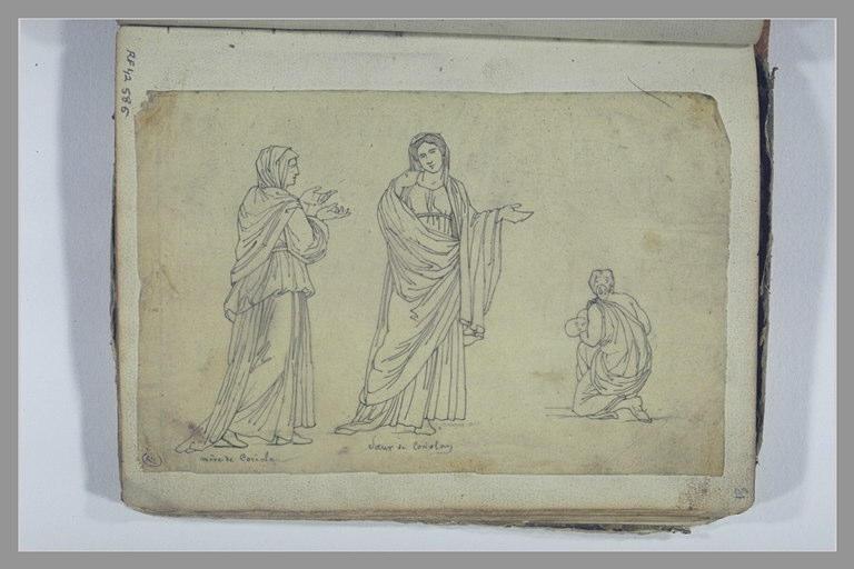 Deux femmes drapées debout ; femme drapée, agenouillée, tenant un enfant