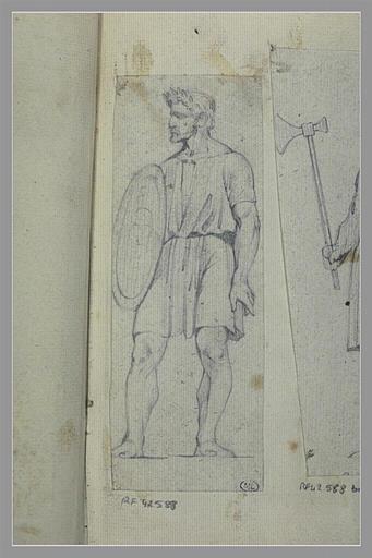 Homme, couronné de lauriers, portant un bouclier