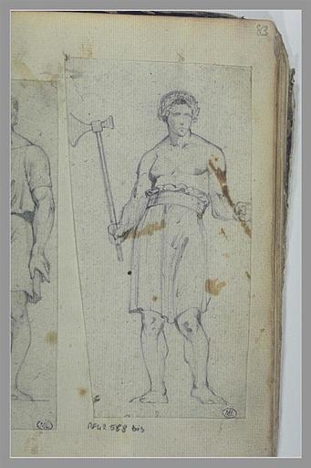 Homme, couronné de lauriers, portant un hache
