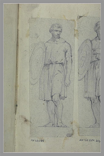 YVON Adolphe : Homme, couronné de lauriers, portant un bouclier