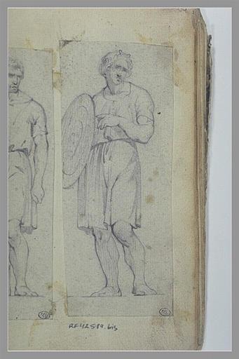 Homme, couronné de lauriers, portant un bouclier_0