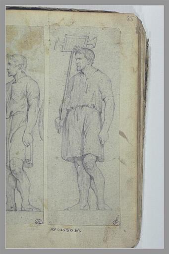 Homme, couronné de lauriers, portant une enseigne