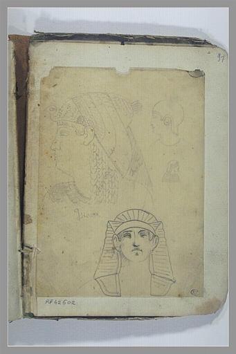 YVON Adolphe : Etudes de têtes d'après des sculptures égyptiennes, têtes d'Isis