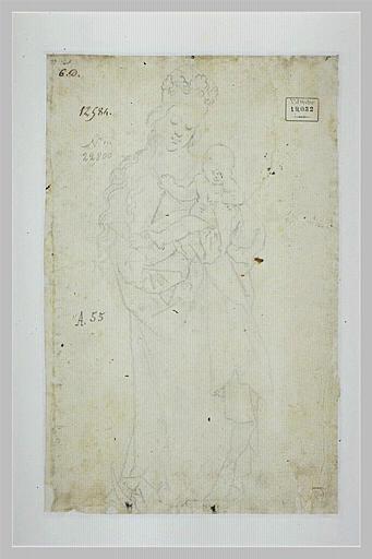 La Vierge couronnée, debout sur un croissant, portant l'Enfant Jésus