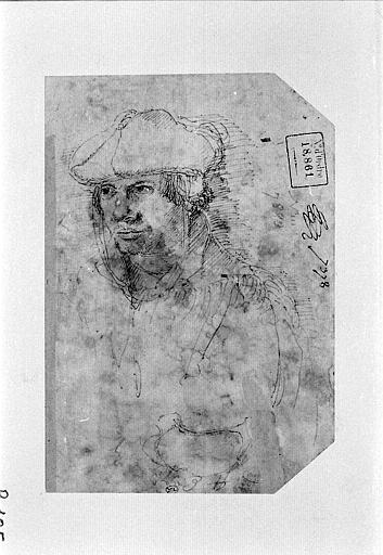 Portrait d'homme, en buste, coiffé d'un bonnet