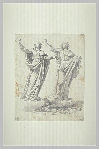 Deux figures drapées, bras écartés, sur des nuages