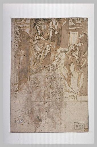 Etude pour une Vierge tenant l'Enfant en Salvator Mundi