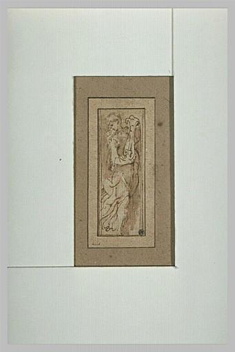 Femme tournée vers la droite, tenant une lyre