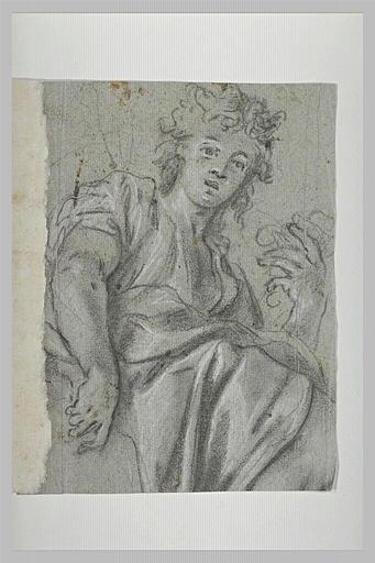 Demi-figure de femme assise, vue légèrement par en-dessous