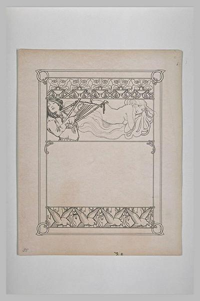 Etude pour Ilsée, chapitre II : Femme tenant une lyre et femme allongée sur le ventre