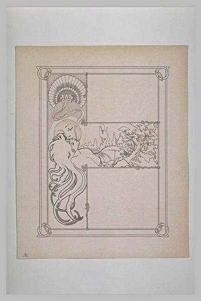 Etude pour Ilsée, chapitre III : Figure géante de jeune fille étendue que la lune personnifiée, embrasse