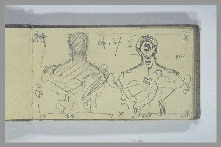 POMPON François : Deux études d'un buste sculpté