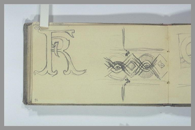 Etude de motif décoratif et des lettres FR entrelacées