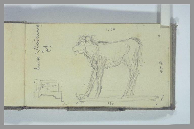 POMPON François : Vache, croquis, note manuscrite