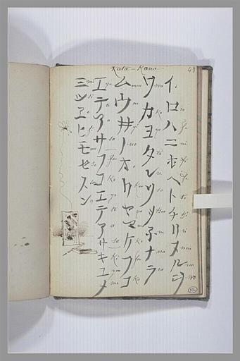 Page de grammaire japonaise : liste de caractères et leur transcription