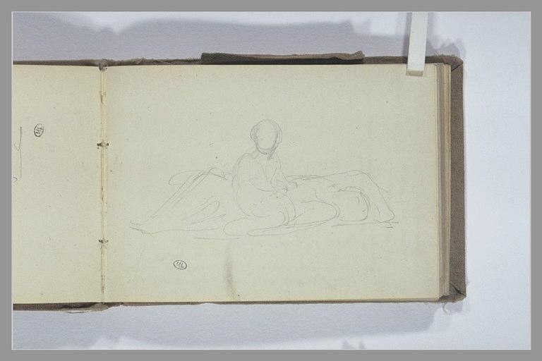 CHAPU Henri Michel Antoine : Figure assise près d'une autre allongée sur le sol