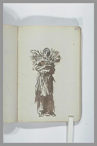 Figure, debout, drapée, tenant une gerbe