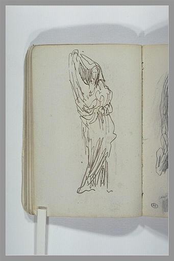 Une figure, debout, drapée, tenant un enfant dans ses bras