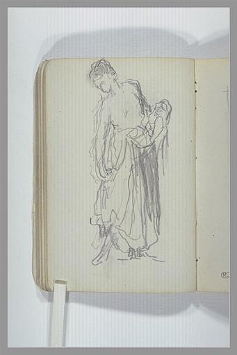 CHAPU Henri Michel Antoine : Une femme, debout, à demi drapée