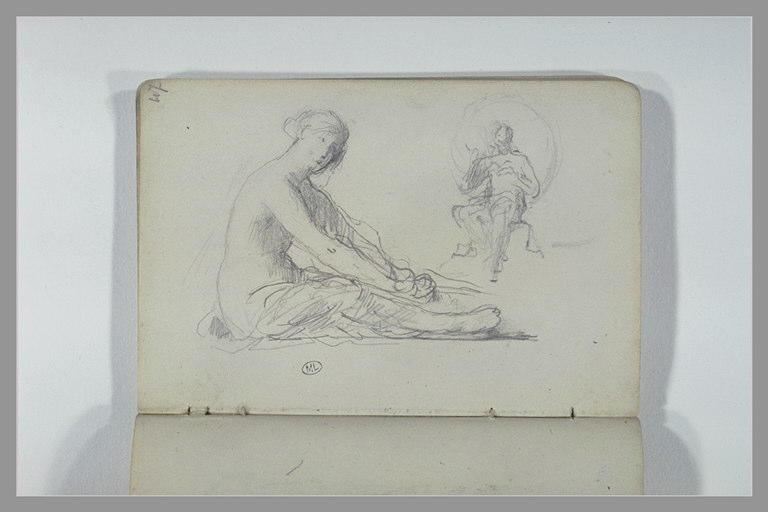 CHAPU Henri Michel Antoine : Une femme, assise, à demi drapée, figure assise