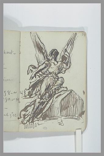 Figure ailée assise : projet pour un monument funéraire_0