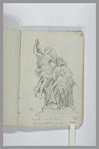 CHAPU Henri Michel Antoine : Figure ailée près d'une homme assis