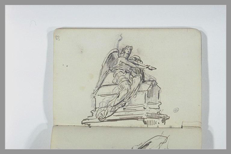 Figure ailée assise : projet d'un monument funéraire