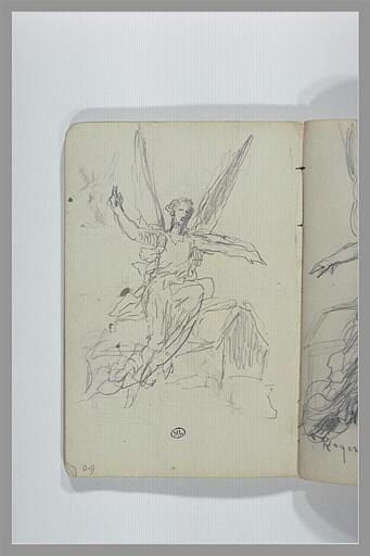 CHAPU Henri Michel Antoine : Figure ailée assise : projet d'un monument funéraire