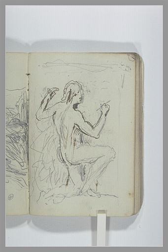 CHAPU Henri Michel Antoine : Projet d'un monument funéraire avec un homme écrivant