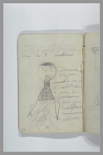 Caricature ; notes manuscrites