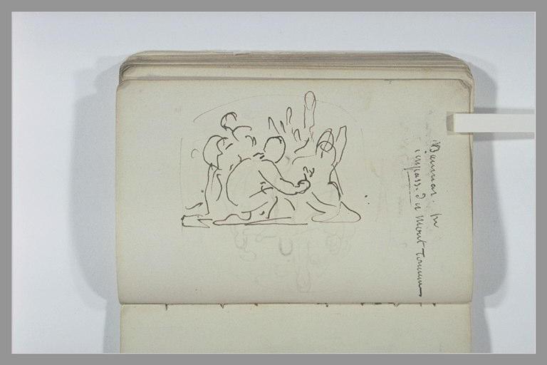 CHAPU Henri Michel Antoine : Composition avec des enfants ou des amours, note manuscrite