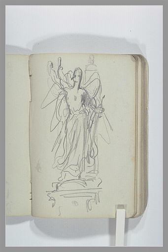 Figure ailée : projet d'un monument funéraire