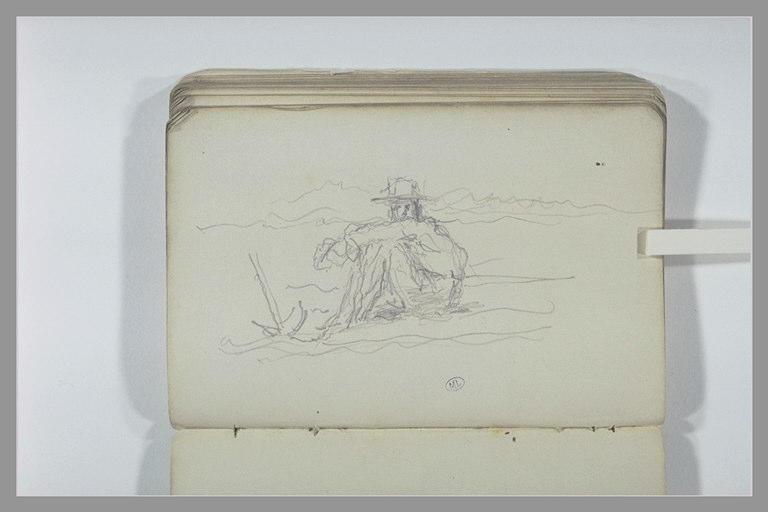 CHAPU Henri Michel Antoine : Homme assis dans un champ