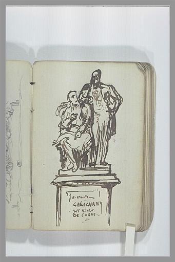 CHAPU Henri Michel Antoine : Monument funéraire avec deux figures