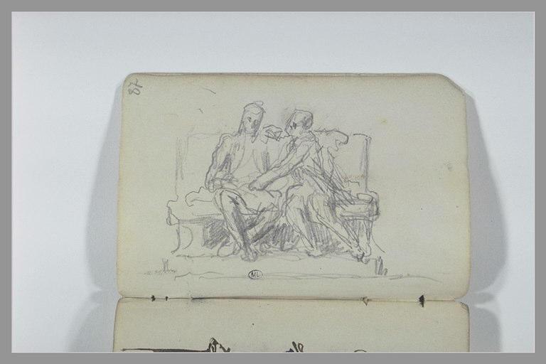 Deux figures assises sur un banc