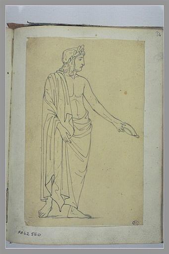 YVON Adolphe : Un homme tenant une coupelle, d'après l'antique