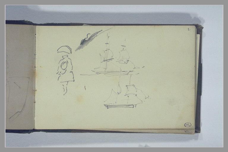 ISABEY Eugène : Figure, deux bateaux
