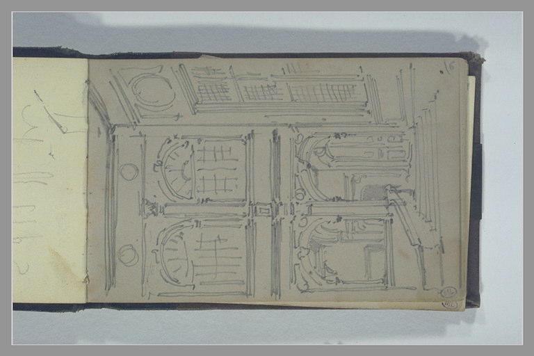ISABEY Eugène : Façade d'un édifice avec une loggia et une galerie