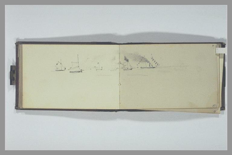 ISABEY Eugène : Un vapeur et un bateau à voile